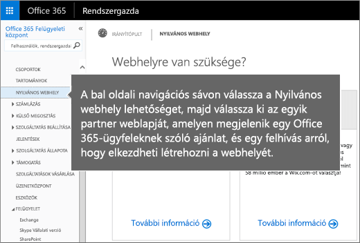 Válassza az Office 365-ben a Nyilvános webhelyek elemet