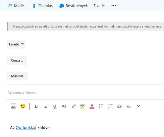 Címek megadása egy e-mailben a webhelypostaládában