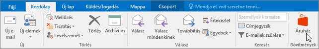Képernyőkép az Outlook Kezdőlap lapjáról, amelyen a kurzor a Bővítmények csoport Áruház ikonjára mutat