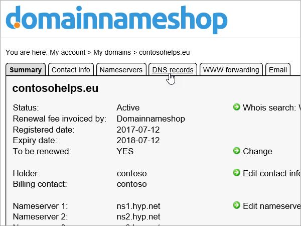 DNS-rekordok lapot Domainnameshop kiemelve