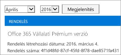 Képernyőkép az Office 365 Felügyeleti központ Számlák lapjáról.