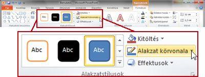 A Formátum lap a PowerPoint 2010 menüszalagján, a Rajzeszközök eszközcsoportban