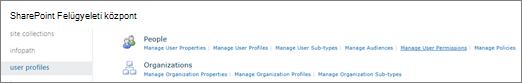 A felhasználói engedélyek kezelése hivatkozásra a felhasználói profilok lapján