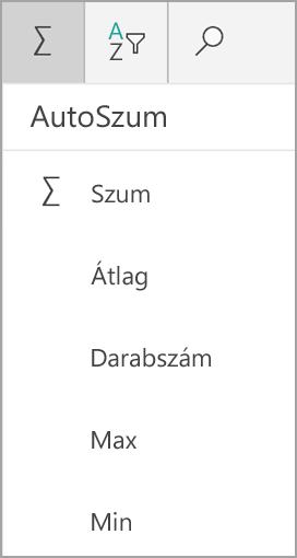 Windows-táblagépre Excel összege