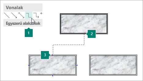 Csatlakozás alakzatokat összekötő vonalak használata