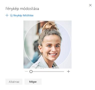 Képernyőkép a profilkép megváltoztatására szolgáló beállítással