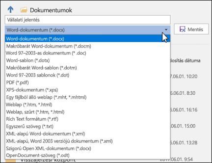 A fájltípusok legördülő menüjére kattintva választhat fájlformátumot a dokumentum számára