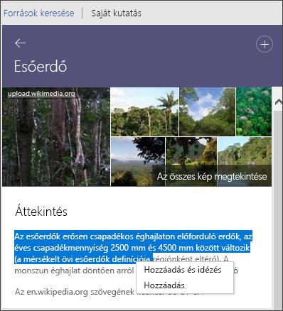 Kutató – Az összes kép megtekintése, szöveg hozzáadása vagy szöveg hozzáadása és idézése