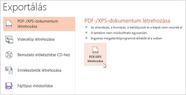 Bemutató mentése PDF-fájlként