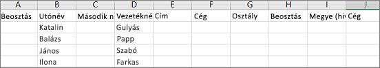 .csv mintafájl az Outlookból az Excelben megnyitva