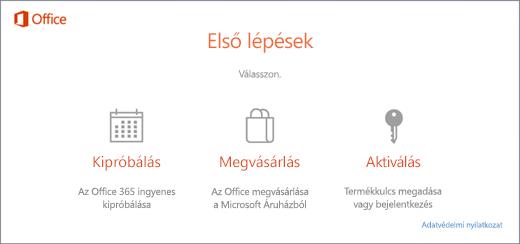Képernyőkép, melyen látható az előtelepített Office-t tartalmazó PC-ken megjelenő alapértelmezett kipróbálási, megvásárlási és aktiválási lehetőség