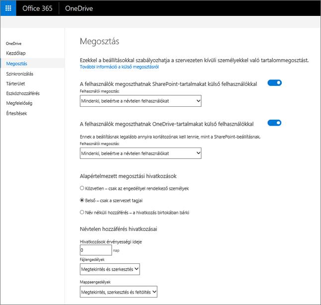 A Megosztás lap a OneDrive Felügyeleti központban