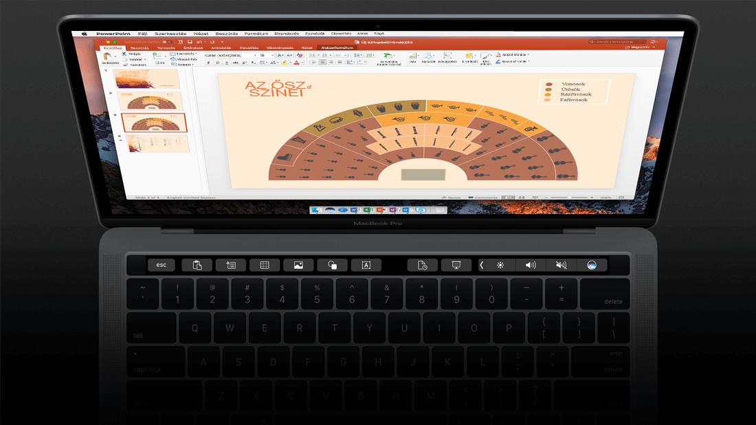 A Touch Bar érintősáv támogatása a Mac PowerPointban