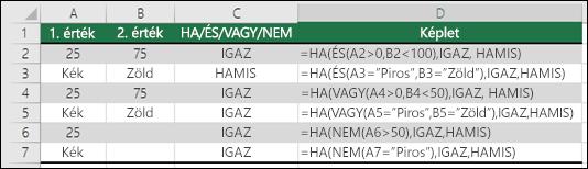 Példák a HA függvény használatára az ÉS, a VAGY és a NEM függvényekkel numerikus értékek és szöveg kiértékeléséhez