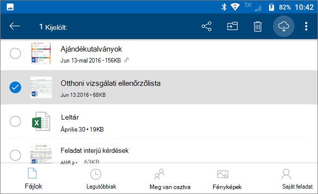 OneDrive-fájlok megjelölése offline használatra