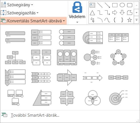 A témalehetőségek a Konvertálás SmartArt-ábra gyűjtemény