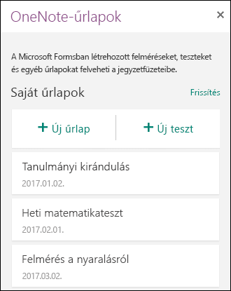 OneNote-űrlapok a webes OneNote-ban