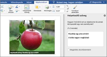Word-dokumentum egy képpel, a jobb oldalon pedig a Helyettesítő szöveg panellel