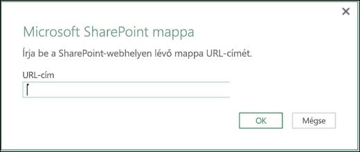 Az Excel Power BI SharePoint mappájának csatlakoztatására szolgáló párbeszédpanel