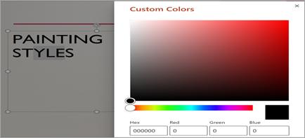 Az egyéni szín ablak megjelenítése