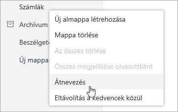 Képernyőkép a mappák helyi menü kijelölt átnevezése