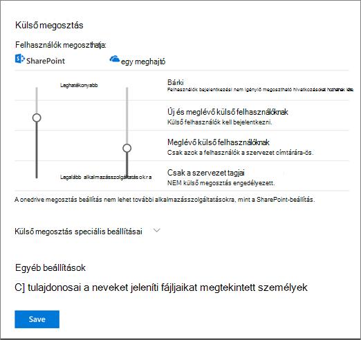 A OneDrive-felügyeleti központ beállítások megosztása