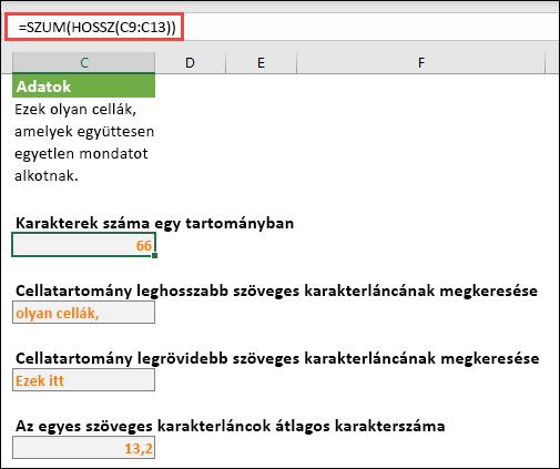 Egy tartományban lévő karakterek teljes számát, valamint a szöveges karakterláncok használatát szolgáló egyéb tömbök számát számítja ki.