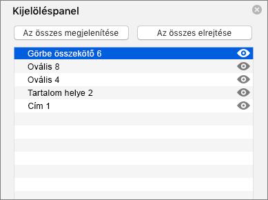 A Mac PowerPoint 2016 Kijelöléspanelét ábrázolja