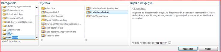 Az Excel Web Access kijelző a kijelzőválasztóban