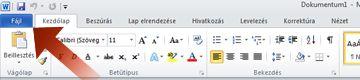 A Word alkalmazás Fájl fülére mutató nyíl