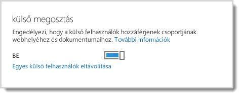 A csoportwebhely és a dokumentumok elérését külső felhasználóknak lehetővé tevő kapcsoló