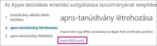 Lépjen az Apple Push Certificates portálra a tanúsítvány létrehozásához.