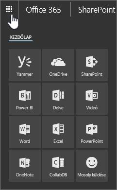 SharePoint Online, az appindító megnyitva, az appindító gomb kiemelve