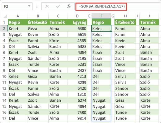 A SORBA.RENDEZ függvény adattartományok sorba rendezésére szolgál. Az alábbiakban a =SORBA.RENDEZ(A2:A17) képlettel sorba rendezzük a Régi oszlopot, majd a H2 és a J2 cellába másolva rendezzük az Üzletkötő és a Termék oszlopot.