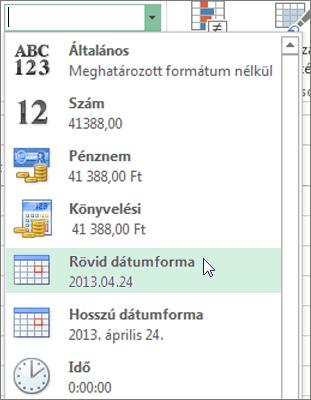 A Rövid dátumforma elem a Számformátum listában