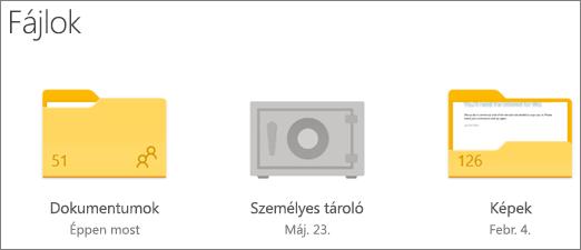 A személyes tároló mappájának képernyőképe