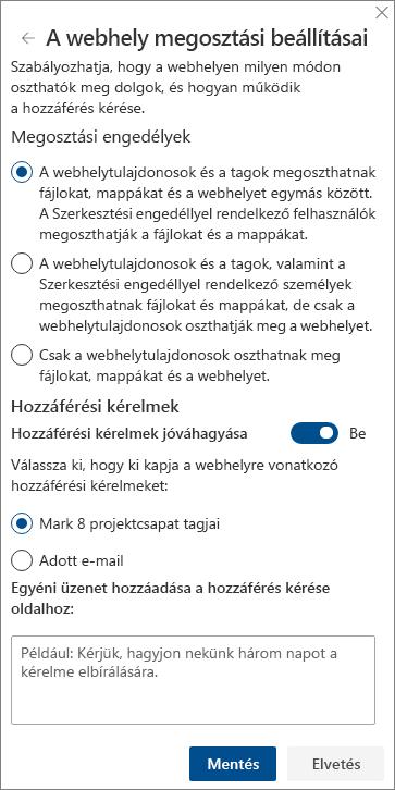 Képernyőkép a webhely-megosztási beállításokat tartalmazó panelről.