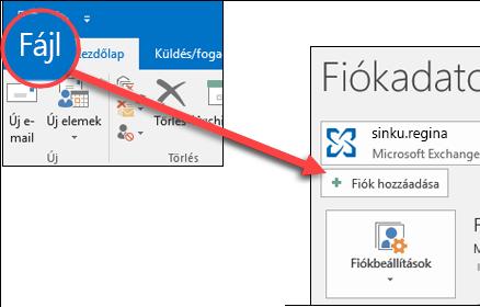 Válassza a Fájl, majd a Fiók hozzáadása lehetőséget.