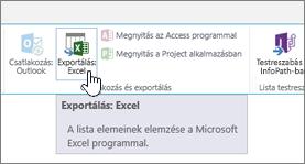 A SharePoint menüszalagján kiemelt Exportálás: Excel gomb