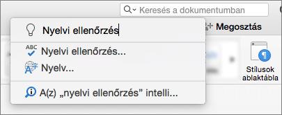 A Tovább én keresése mező a Word for Mac 2016-ban
