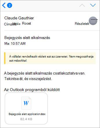 Biztonsági Tipp: a cég az Office 365-tel védett ezt az üzenetet.