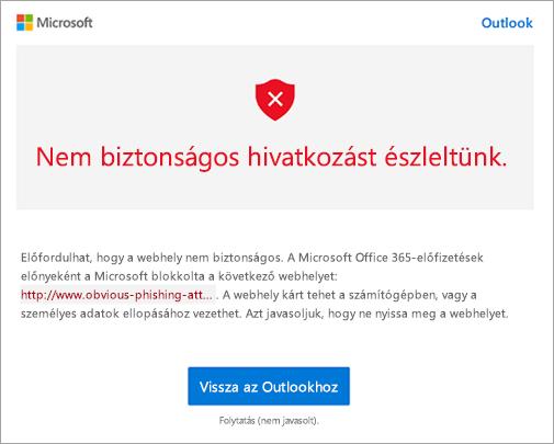 Képernyőkép a nem biztonságos hivatkozás figyelmeztetési képernyőjéről