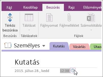 Képernyőkép arról, hogy miként módosíthatja egy lap időbélyegzőjét a OneNote 2016-ban