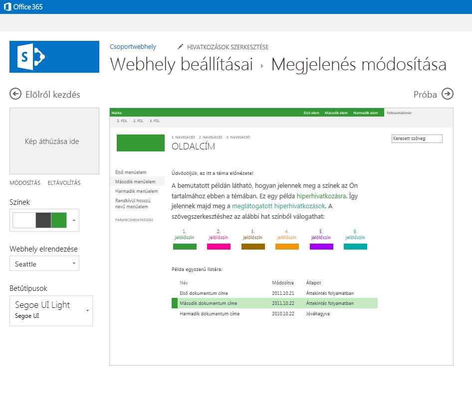 SharePoint közzétételi webhely színeinek, elrendezésének és témájának módosítása