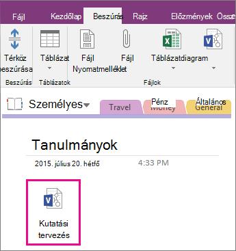 Képernyőkép arról, hogy miként csatolhat Visio-fájlt egy OneNote 2016-laphoz.