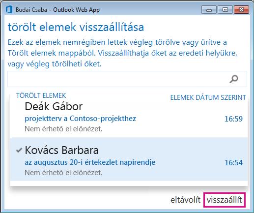 Az Outlook Web App Törölt elemek visszaállítása párbeszédpanele