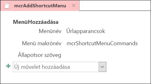 Képernyőkép az Access-makrók MenüHozzáadása.