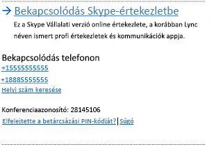A Bekapcsolódás Skype-értekezletbe felhasználói felülete