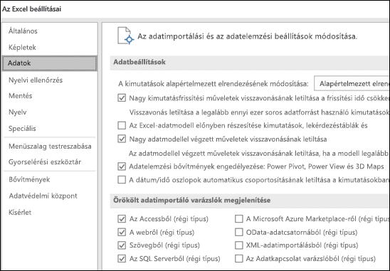 Az adatbeállítások átkerültek a fájl > beállítások > speciális szakaszból egy új, a fájl > beállítások csoportban lévő adatlapra.