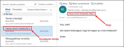 Az Outlook az üzenetek csoportosítása a téma az üzenetlistában.